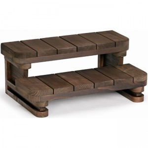 "34"" wide 2 tier Redwood Spa Steps"