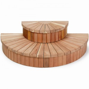 "68"" Half-Round 2 tier Redwood Spa Steps"