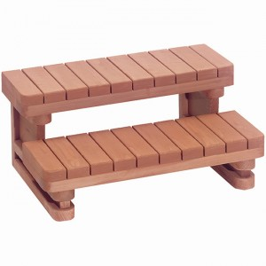 "36"" wide 2 tier Redwood Spa Steps"