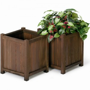 Square Redwood Planter Boxes