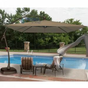 Seabrooke 10' Square Cantilever Umbrella with Base