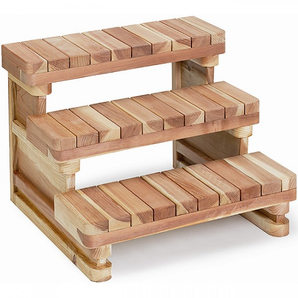 "36"" wide 3 tier Redwood Spa Steps"