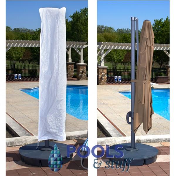 Santorini II Cantilever Umbrella with Valance Free Cover