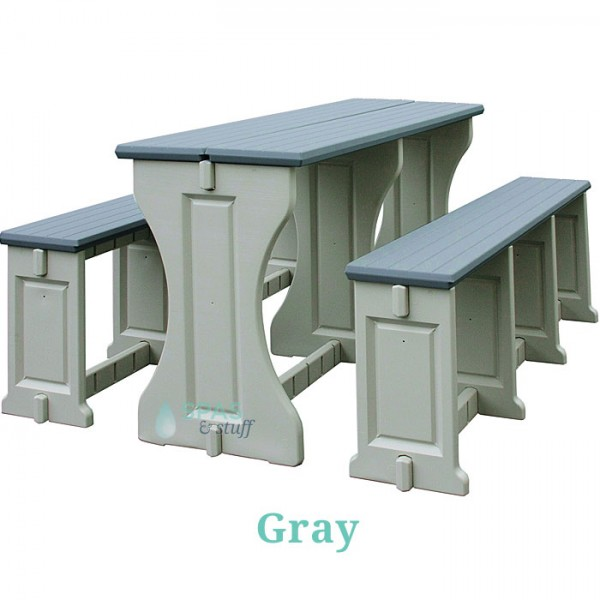 Picnic Table / Bench Set - Gray