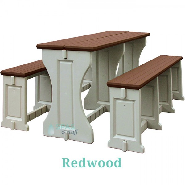 Picnic Table / Bench Set - Redwood