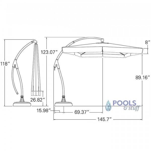 Seabrooke 10' Square Cantilever Umbrella with Base - Specs
