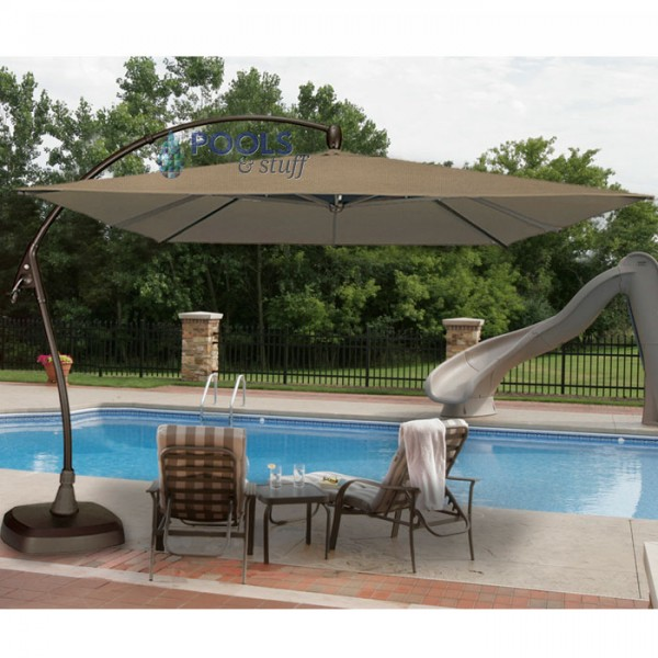 Seabrooke 10' Square Cantilever Umbrella with Base