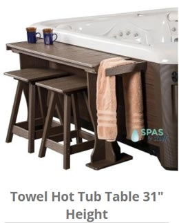 "31"" high hot tub towel table"